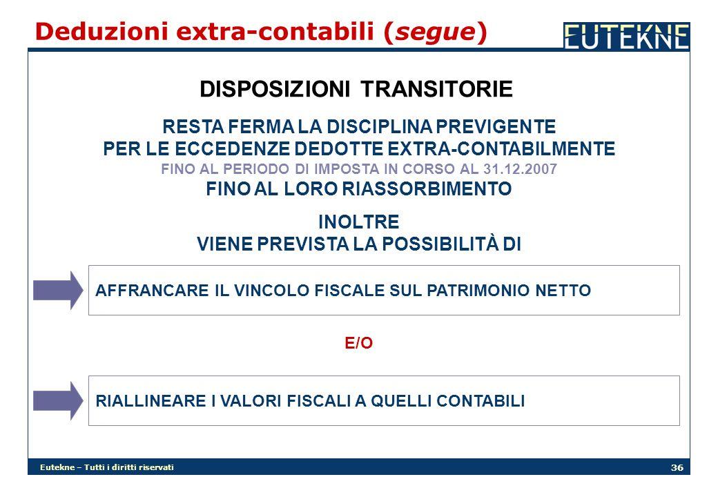 Eutekne – Tutti i diritti riservati 36 Deduzioni extra-contabili (segue) DISPOSIZIONI TRANSITORIE RESTA FERMA LA DISCIPLINA PREVIGENTE PER LE ECCEDENZ