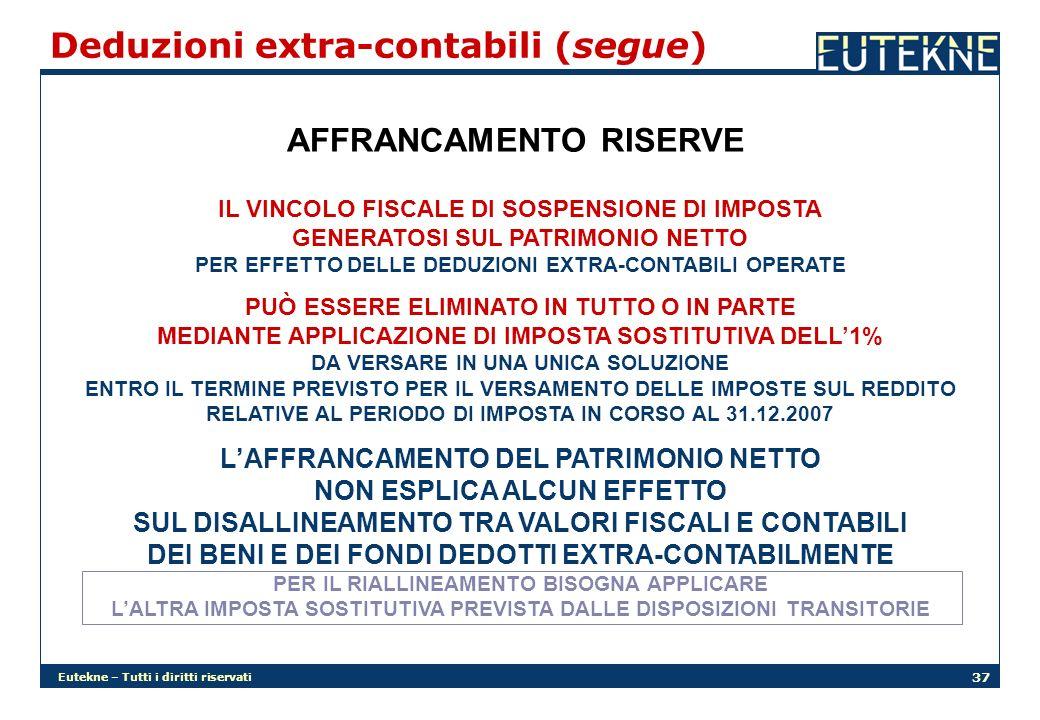 Eutekne – Tutti i diritti riservati 37 Deduzioni extra-contabili (segue) AFFRANCAMENTO RISERVE IL VINCOLO FISCALE DI SOSPENSIONE DI IMPOSTA GENERATOSI