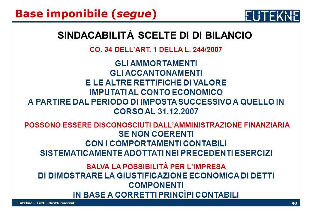 Eutekne – Tutti i diritti riservati 40 Base imponibile (segue) SINDACABILITÀ SCELTE DI DI BILANCIO CO.