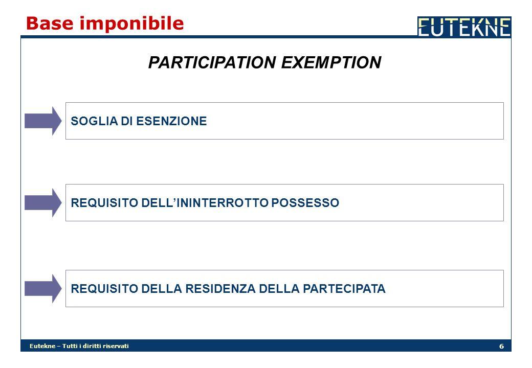 Eutekne – Tutti i diritti riservati 7 Participation exemption (segue) SOGLIA DI ESENZIONE A DECORRERE DALLE PLUSVALENZE REALIZZATE NEL PERIODO DI IMPOSTA SUCCESSIVO A QUELLO IN CORSO AL 31.12.2007 LA PERCENTUALE DI ESENZIONE PASSA DAL 84% AL 95% NORMA TRANSITORIA SE VIENE CEDUTA UNA PARTECIPAZIONE SULLA QUALE È STATA DEDOTTA UNA SVALUTAZIONE AI FINI FISCALI NEI PERIODI DI IMPOSTA ANTERIORI A QUELLO IN CORSO ALL1.1.2004 LA PLUSVALENZA RIMANE ESENTE SOLO PER L84% FINO A CONCORRENZA DELLA SVALUTAZIONE DEDOTTA