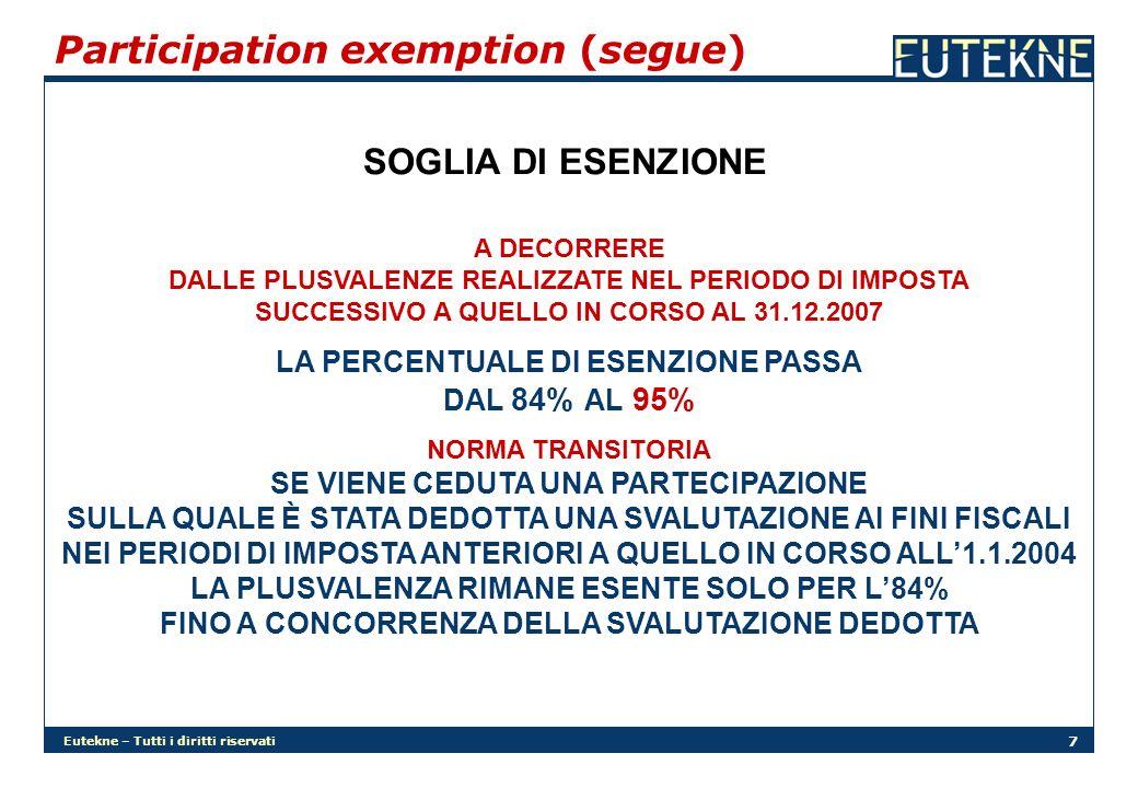 Eutekne – Tutti i diritti riservati 38 Deduzioni extra-contabili (segue) AFFRANCAMENTO DISALLINEAMENTI IL DISALLINEAMENTO TRA VALORI FISCALI E CONTABILI PER EFFETTO DELLE DEDUZIONI EXTRA-CONTABILI OPERATE FINO AL 2007 PUÒ ESSERE ELIMINATO IN TUTTO O IN PARTE MEDIANTE APPLICAZIONE DI APPOSITA IMPOSTA SOSTITUTIVA 12% SUI DISALLINEAMENTI DA AFFRANCARE FINO A 5 MILIONI DI EURO 14% SUI DISALLINEAMENTI DA AFFRANCARE TRA 5 MILIONI DI EURO E 10 MILIONI DI EURO 16% SUI DISALLINEAMENTI DA AFFRANCARE OLTRE I 10 MILIONI DI EURO LA LOGICA DI APPLICAZIONE DOVREBBE ESSERE QUELLA DELLA PROGRESSIVITÀ PER SCAGLIONI
