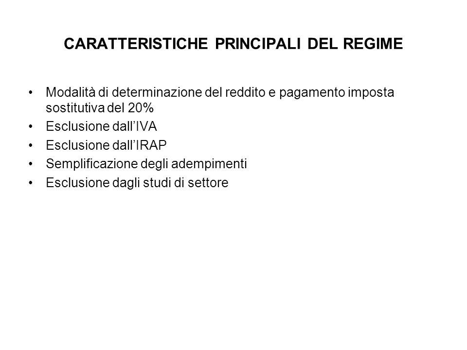 CARATTERISTICHE PRINCIPALI DEL REGIME Modalità di determinazione del reddito e pagamento imposta sostitutiva del 20% Esclusione dallIVA Esclusione dal