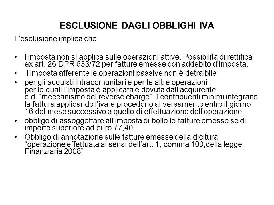 ESCLUSIONE DAGLI OBBLIGHI IVA Lesclusione implica che limposta non si applica sulle operazioni attive. Possibilità di rettifica ex art. 26 DPR 633/72