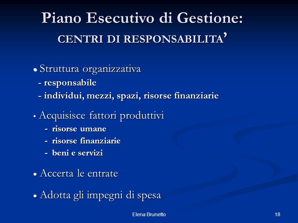 18Elena Brunetto Piano Esecutivo di Gestione: CENTRI DI RESPONSABILITA Piano Esecutivo di Gestione: CENTRI DI RESPONSABILITA Struttura organizzativa S