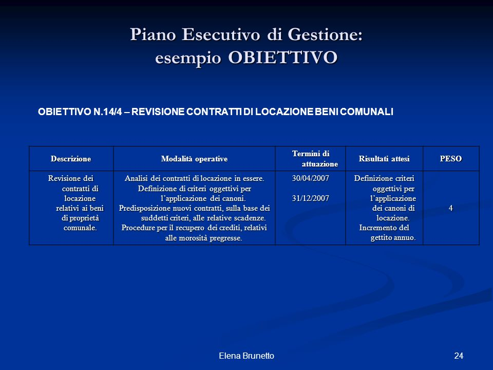24Elena Brunetto OBIETTIVO N.14/4 – REVISIONE CONTRATTI DI LOCAZIONE BENI COMUNALI Descrizione Modalità operative Termini di attuazione Risultati atte