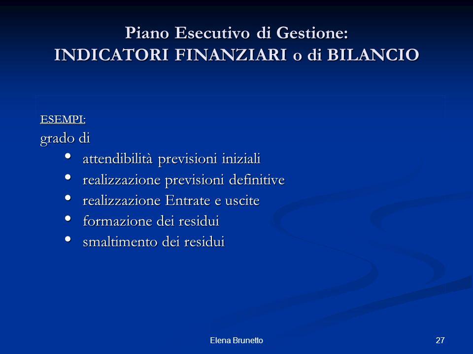 27Elena Brunetto Piano Esecutivo di Gestione: INDICATORI FINANZIARI o di BILANCIO ESEMPI: grado di attendibilità previsioni iniziali attendibilità pre