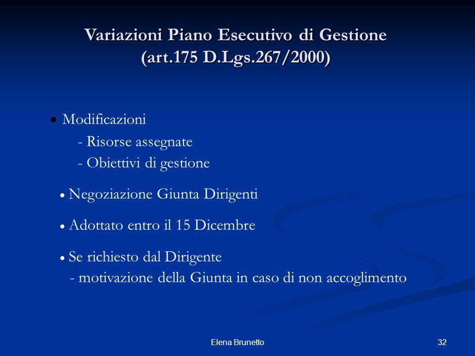 32Elena Brunetto Variazioni Piano Esecutivo di Gestione (art.175 D.Lgs.267/2000) Modificazioni - Risorse assegnate - Obiettivi di gestione Negoziazion
