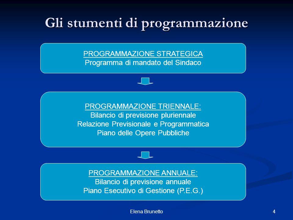 4Elena Brunetto Gli stumenti di programmazione PROGRAMMAZIONE STRATEGICA Programma di mandato del Sindaco PROGRAMMAZIONE TRIENNALE: Bilancio di previs