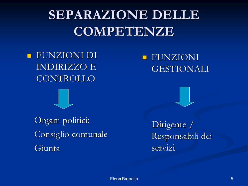 5Elena Brunetto SEPARAZIONE DELLE COMPETENZE FUNZIONI DI INDIRIZZO E CONTROLLO FUNZIONI DI INDIRIZZO E CONTROLLO Organi politici: Organi politici: Con