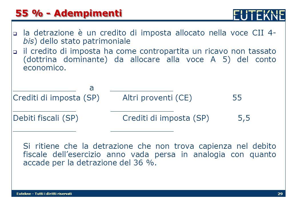 Eutekne – Tutti i diritti riservati 29 55 % - Adempimenti la detrazione è un credito di imposta allocato nella voce CII 4- bis) dello stato patrimoniale il credito di imposta ha come contropartita un ricavo non tassato (dottrina dominante) da allocare alla voce A 5) del conto economico.