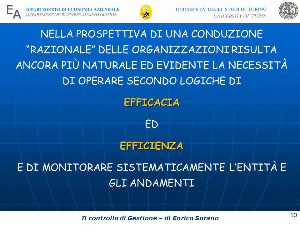 Il controllo di Gestione – di Enrico Sorano 10 NELLA PROSPETTIVA DI UNA CONDUZIONE RAZIONALE DELLE ORGANIZZAZIONI RISULTA ANCORA PIÙ NATURALE ED EVIDE