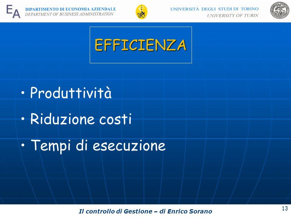 Il controllo di Gestione – di Enrico Sorano 13 EFFICIENZA Produttività Riduzione costi Tempi di esecuzione