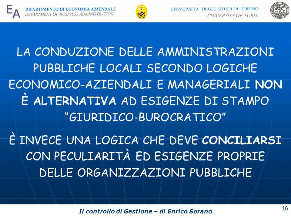 Il controllo di Gestione – di Enrico Sorano 16 LA CONDUZIONE DELLE AMMINISTRAZIONI PUBBLICHE LOCALI SECONDO LOGICHE ECONOMICO-AZIENDALI E MANAGERIALI
