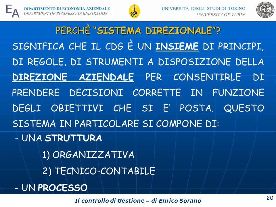 Il controllo di Gestione – di Enrico Sorano 20 PERCHÈ SISTEMA DIREZIONALE? SIGNIFICA CHE IL CDG È UN INSIEME DI PRINCIPI, DI REGOLE, DI STRUMENTI A DI
