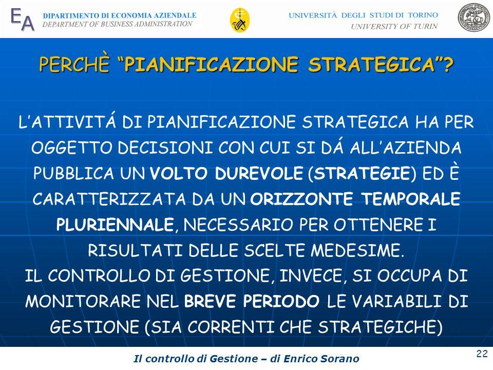 Il controllo di Gestione – di Enrico Sorano 22 PERCHÈ PIANIFICAZIONE STRATEGICA? LATTIVITÁ DI PIANIFICAZIONE STRATEGICA HA PER OGGETTO DECISIONI CON C