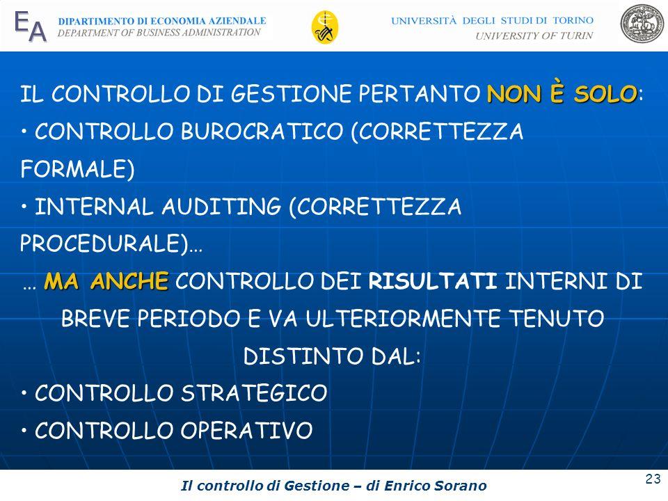 Il controllo di Gestione – di Enrico Sorano 23 NON È SOLO IL CONTROLLO DI GESTIONE PERTANTO NON È SOLO: CONTROLLO BUROCRATICO (CORRETTEZZA FORMALE) IN