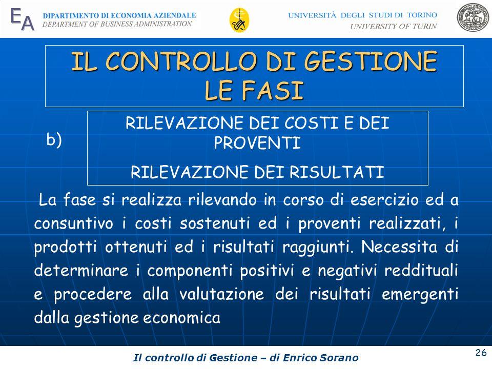 Il controllo di Gestione – di Enrico Sorano 26 IL CONTROLLO DI GESTIONE LE FASI La fase si realizza rilevando in corso di esercizio ed a consuntivo i