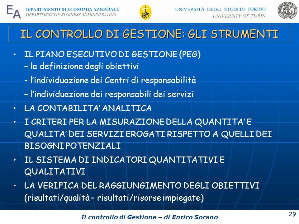 Il controllo di Gestione – di Enrico Sorano 29 IL CONTROLLO DI GESTIONE: GLI STRUMENTI IL PIANO ESECUTIVO DI GESTIONE (PEG) – la definizione degli obi