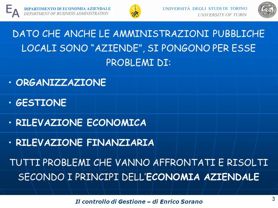 Il controllo di Gestione – di Enrico Sorano 3 DATO CHE ANCHE LE AMMINISTRAZIONI PUBBLICHE LOCALI SONO AZIENDE, SI PONGONO PER ESSE PROBLEMI DI: ORGANI