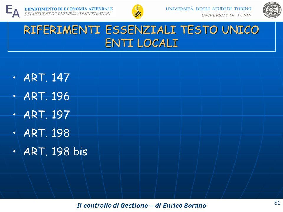 Il controllo di Gestione – di Enrico Sorano 31 RIFERIMENTI ESSENZIALI TESTO UNICO ENTI LOCALI ART. 147 ART. 196 ART. 197 ART. 198 ART. 198 bis
