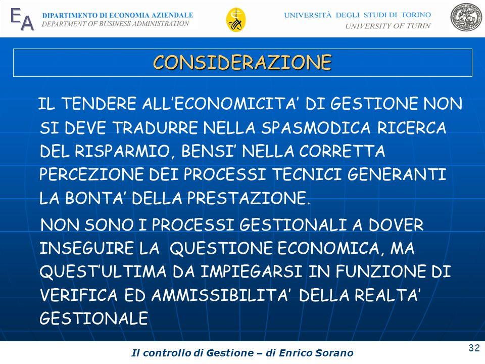 Il controllo di Gestione – di Enrico Sorano 32 CONSIDERAZIONE IL TENDERE ALLECONOMICITA DI GESTIONE NON SI DEVE TRADURRE NELLA SPASMODICA RICERCA DEL