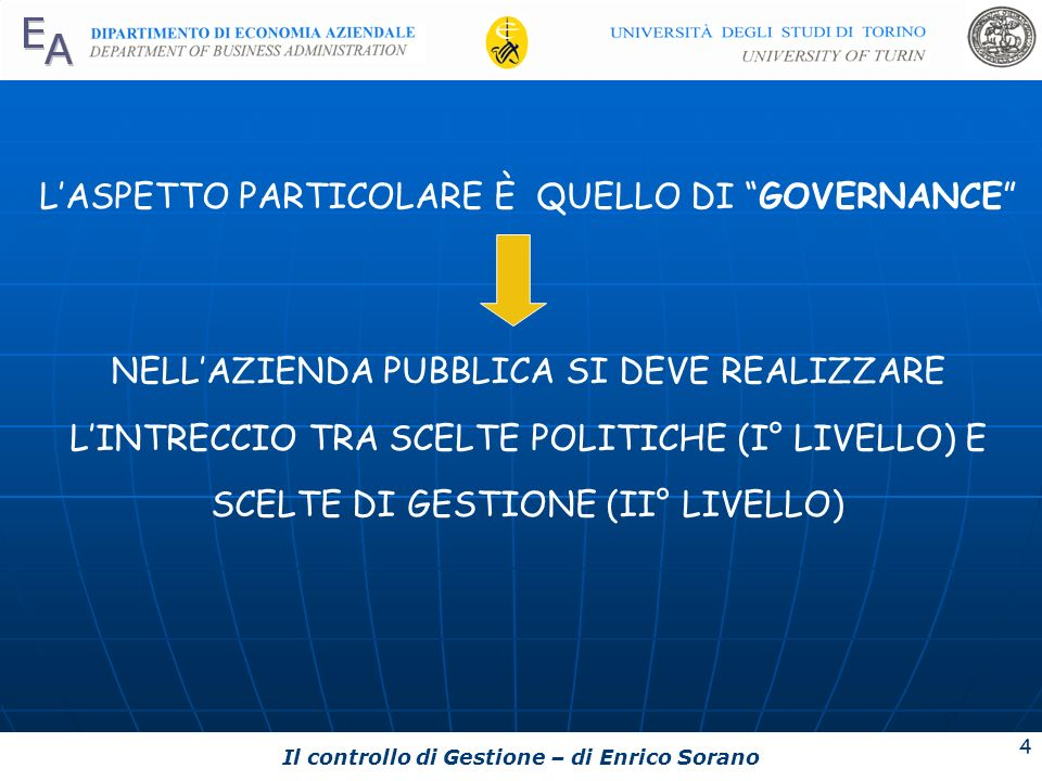 Il controllo di Gestione – di Enrico Sorano 4 LASPETTO PARTICOLARE È QUELLO DI GOVERNANCE NELLAZIENDA PUBBLICA SI DEVE REALIZZARE LINTRECCIO TRA SCELT