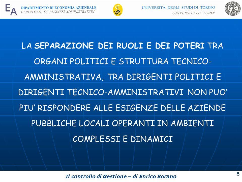 Il controllo di Gestione – di Enrico Sorano 5 LA SEPARAZIONE DEI RUOLI E DEI POTERI TRA ORGANI POLITICI E STRUTTURA TECNICO- AMMINISTRATIVA, TRA DIRIG