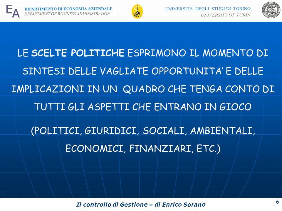 Il controllo di Gestione – di Enrico Sorano 6 LE SCELTE POLITICHE ESPRIMONO IL MOMENTO DI SINTESI DELLE VAGLIATE OPPORTUNITA E DELLE IMPLICAZIONI IN U