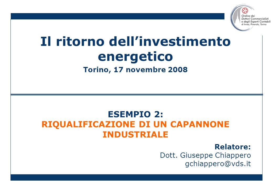 Il ritorno dellinvestimento energetico Torino, 17 novembre 2008 ESEMPIO 2: RIQUALIFICAZIONE DI UN CAPANNONE INDUSTRIALE Relatore: Dott. Giuseppe Chiap