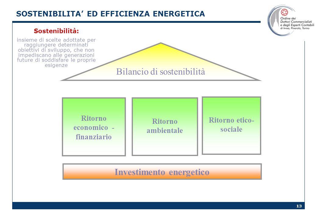 13 Ritorno economico - finanziario Ritorno etico- sociale Ritorno ambientale Bilancio di sostenibilità Investimento energetico Sostenibilità: insieme