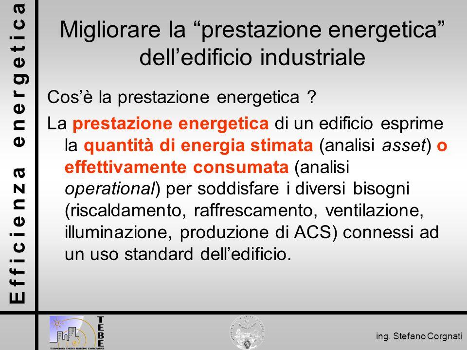 Efficienza energetica ing. Stefano Corgnati Migliorare la prestazione energetica delledificio industriale Cosè la prestazione energetica ? La prestazi