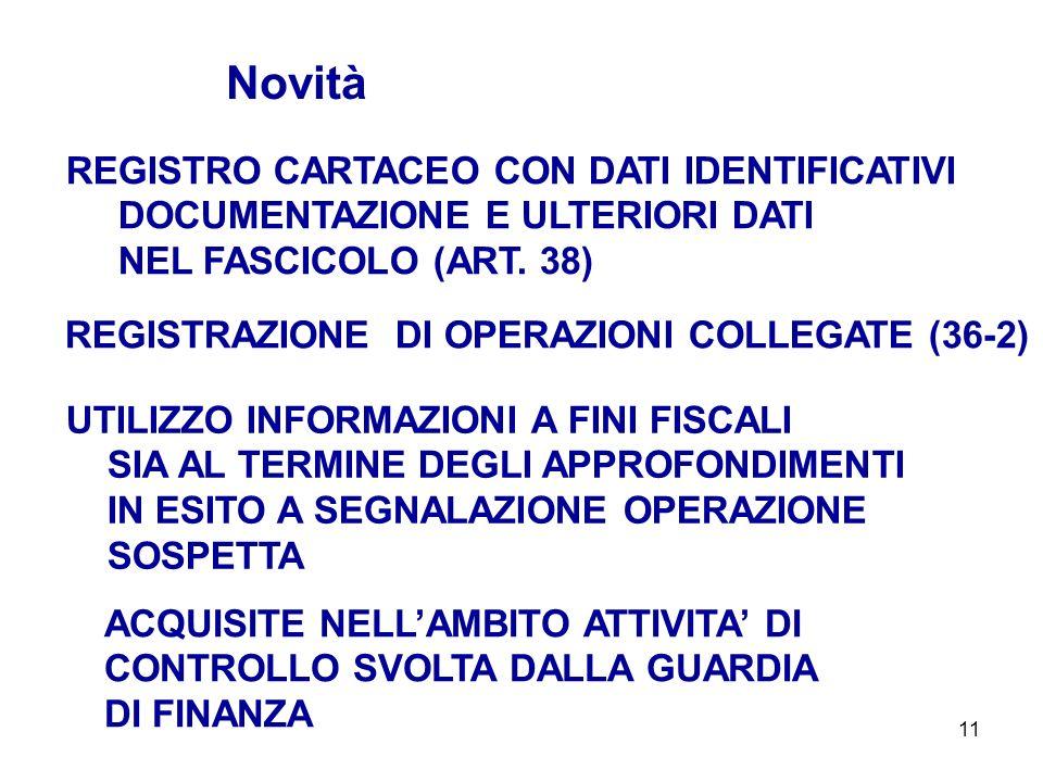 11 REGISTRO CARTACEO CON DATI IDENTIFICATIVI DOCUMENTAZIONE E ULTERIORI DATI NEL FASCICOLO (ART. 38) Novità UTILIZZO INFORMAZIONI A FINI FISCALI SIA A