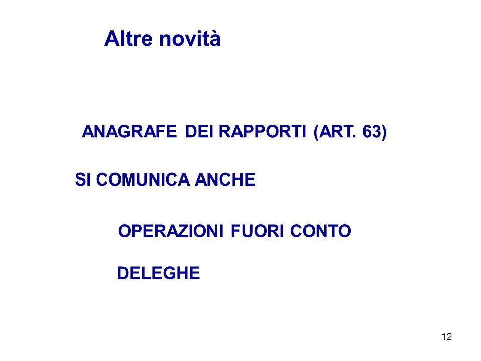12 ANAGRAFE DEI RAPPORTI (ART. 63) Altre novità OPERAZIONI FUORI CONTO SI COMUNICA ANCHE DELEGHE