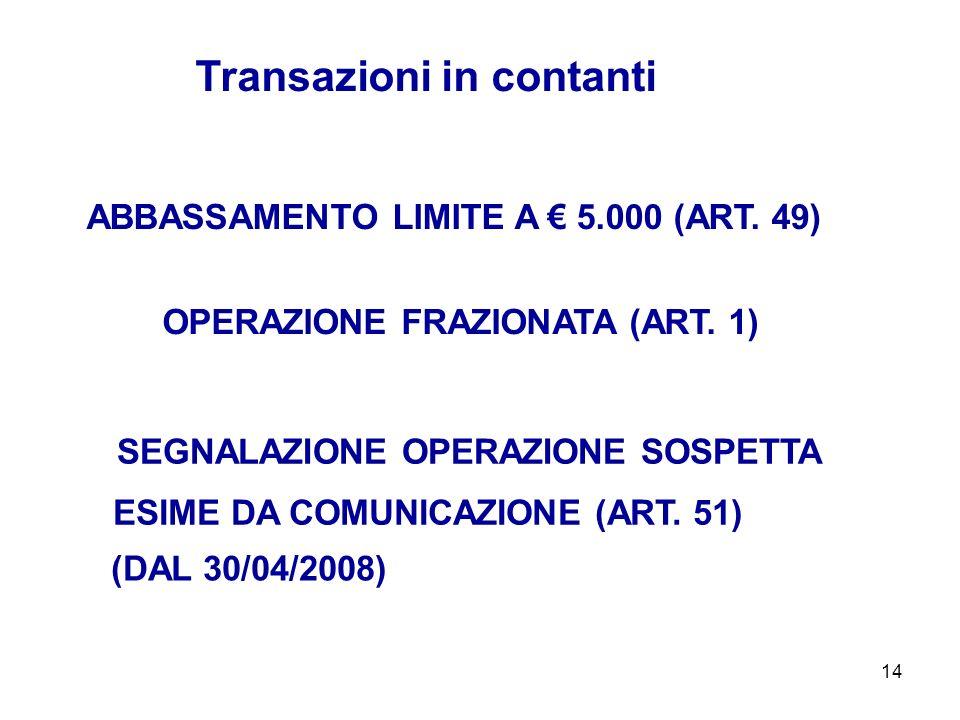 14 ABBASSAMENTO LIMITE A 5.000 (ART. 49) Transazioni in contanti SEGNALAZIONE OPERAZIONE SOSPETTA OPERAZIONE FRAZIONATA (ART. 1) ESIME DA COMUNICAZION