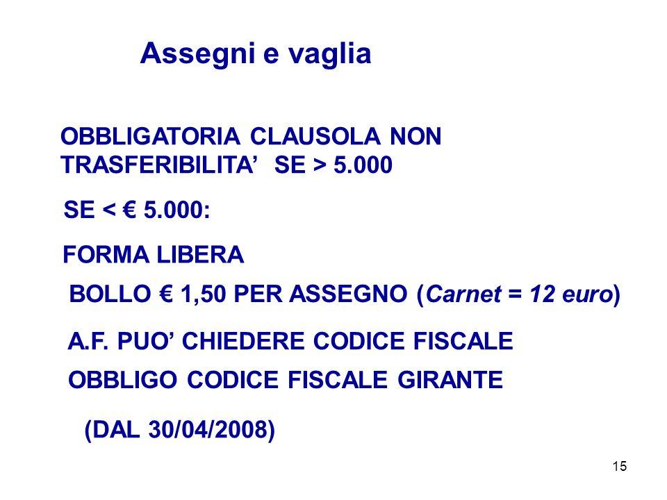 15 OBBLIGATORIA CLAUSOLA NON TRASFERIBILITA SE > 5.000 Assegni e vaglia FORMA LIBERA SE < 5.000: A.F. PUO CHIEDERE CODICE FISCALE (DAL 30/04/2008) BOL