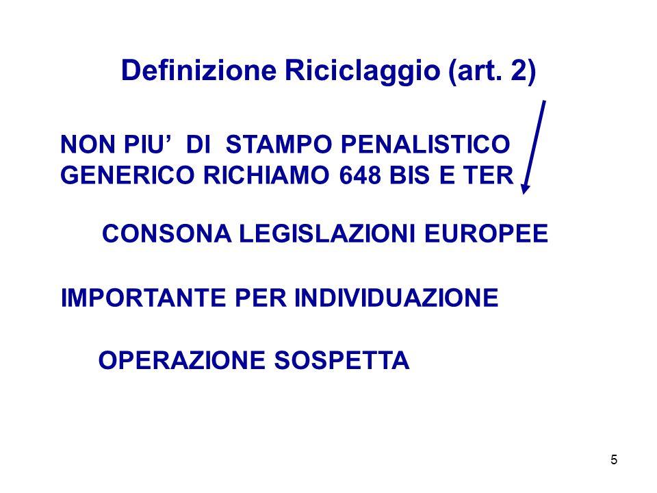 5 NON PIU DI STAMPO PENALISTICO GENERICO RICHIAMO 648 BIS E TER Definizione Riciclaggio (art. 2) CONSONA LEGISLAZIONI EUROPEE IMPORTANTE PER INDIVIDUA