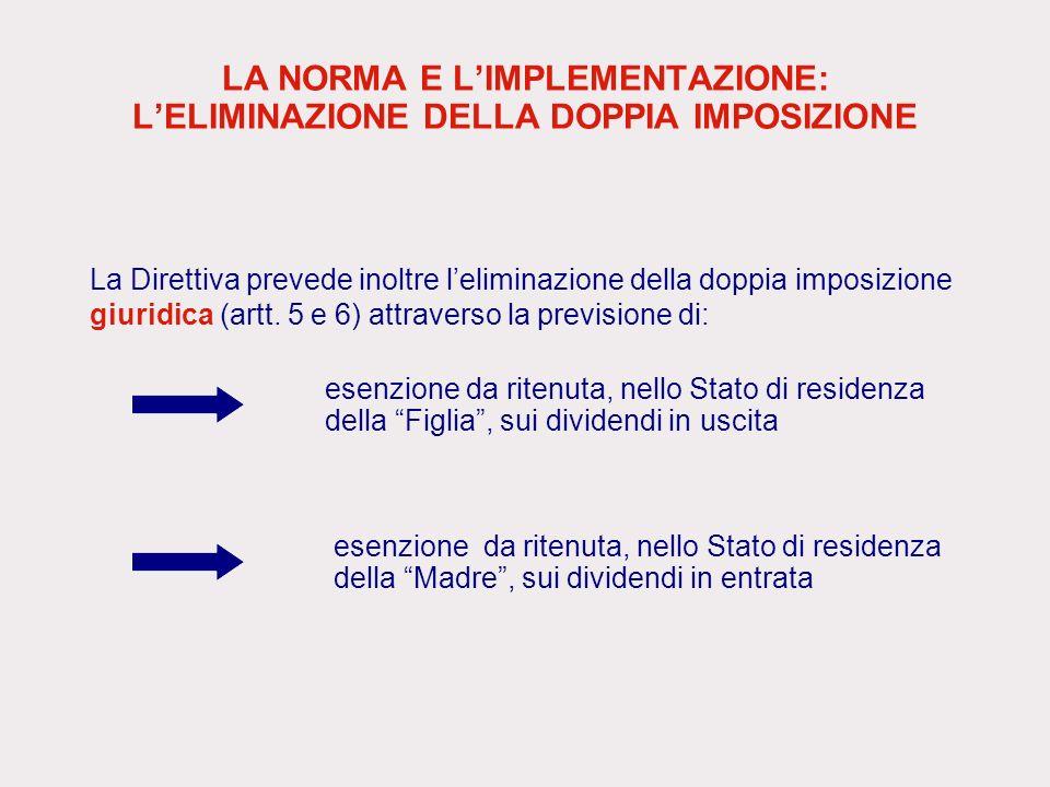 LA NORMA E LIMPLEMENTAZIONE: LELIMINAZIONE DELLA DOPPIA IMPOSIZIONE La Direttiva prevede inoltre leliminazione della doppia imposizione giuridica (art
