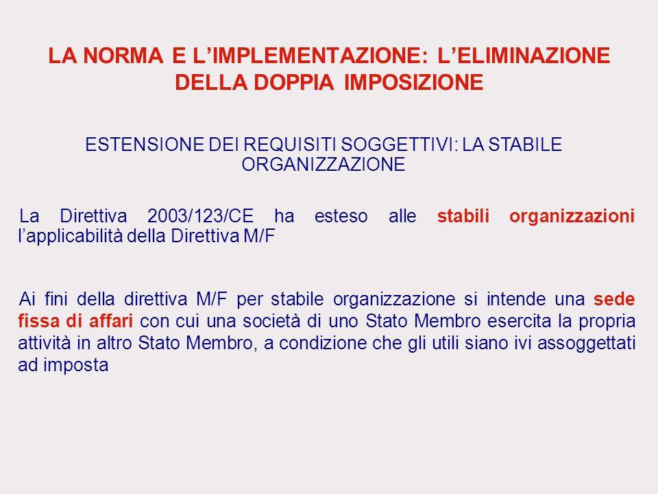 LA NORMA E LIMPLEMENTAZIONE: LELIMINAZIONE DELLA DOPPIA IMPOSIZIONE La Direttiva 2003/123/CE ha esteso alle stabili organizzazioni lapplicabilità dell