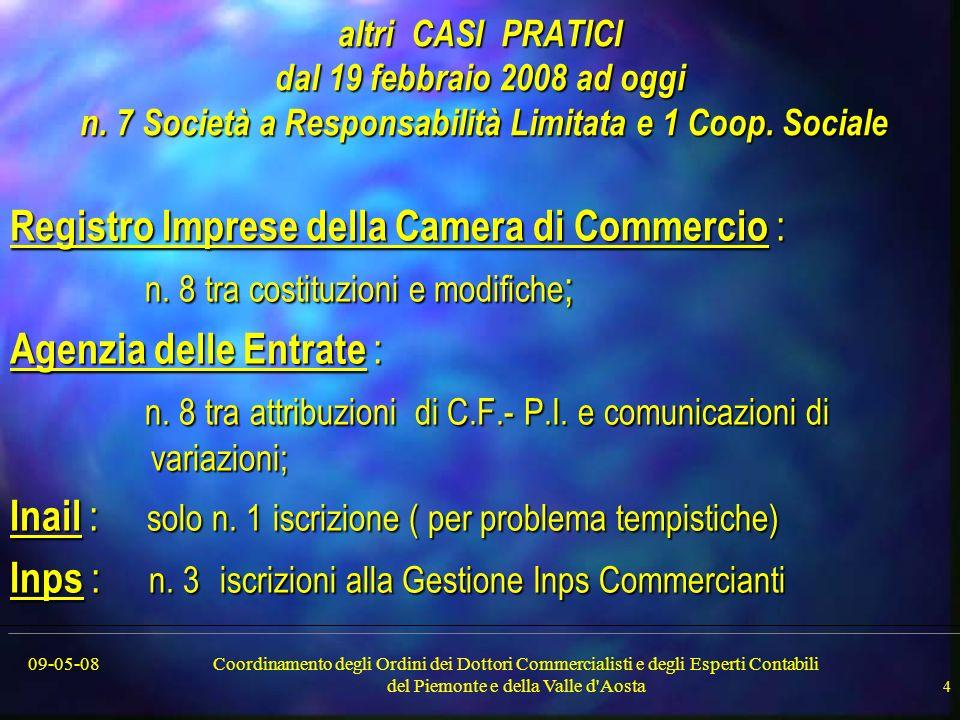 09-05-08Coordinamento degli Ordini dei Dottori Commercialisti e degli Esperti Contabili del Piemonte e della Valle d Aosta 4 altri CASI PRATICI dal 19 febbraio 2008 ad oggi n.
