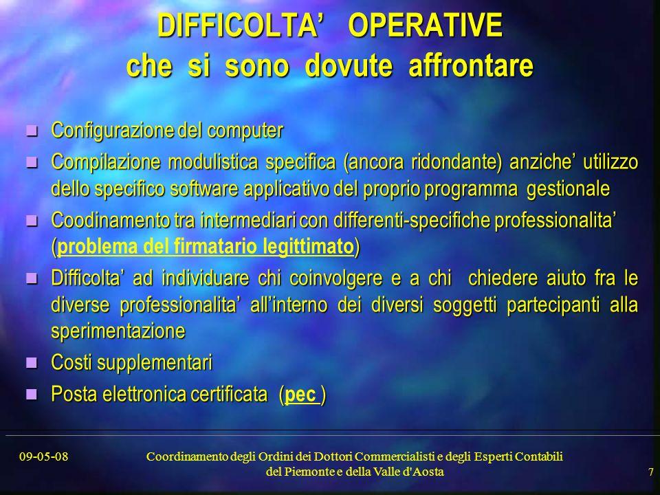 09-05-08Coordinamento degli Ordini dei Dottori Commercialisti e degli Esperti Contabili del Piemonte e della Valle d'Aosta 7 DIFFICOLTA OPERATIVE che