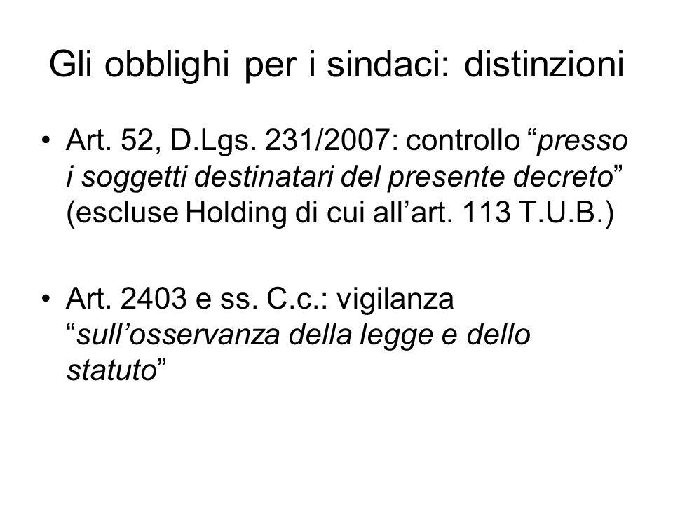 Gli obblighi per i sindaci: distinzioni Art. 52, D.Lgs. 231/2007: controllo presso i soggetti destinatari del presente decreto (escluse Holding di cui