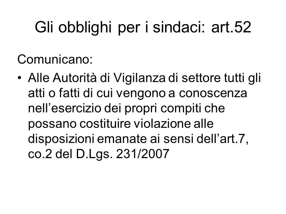 Gli obblighi per i sindaci: art.52 Comunicano: Alle Autorità di Vigilanza di settore tutti gli atti o fatti di cui vengono a conoscenza nellesercizio