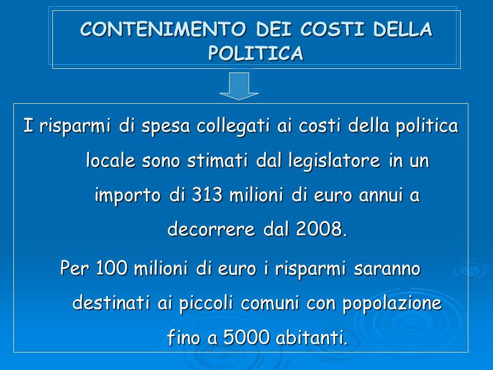 CONTENIMENTO DEI COSTI DELLA POLITICA I risparmi di spesa collegati ai costi della politica locale sono stimati dal legislatore in un importo di 313 milioni di euro annui a decorrere dal 2008.