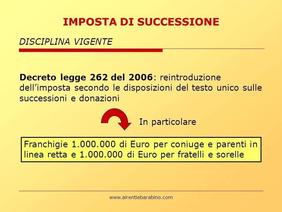 www.airentiebarabino.com IMPOSTA DI SUCCESSIONE DISCIPLINA VIGENTE Decreto legge 262 del 2006: reintroduzione dellimposta secondo le disposizioni del