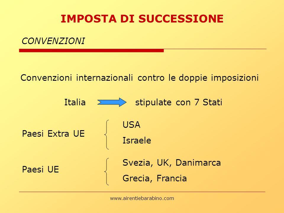 www.airentiebarabino.com CONVENZIONI Convenzioni internazionali contro le doppie imposizioni IMPOSTA DI SUCCESSIONE Italia stipulate con 7 Stati Paesi