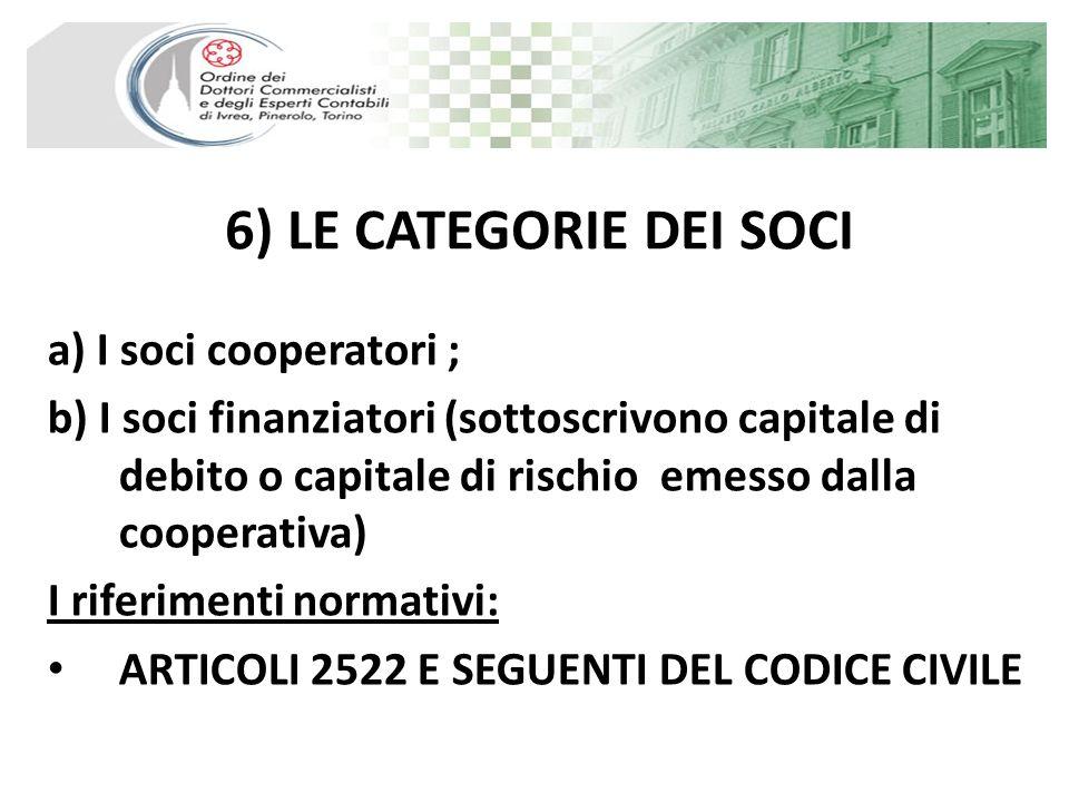 6) LE CATEGORIE DEI SOCI a) I soci cooperatori ; b) I soci finanziatori (sottoscrivono capitale di debito o capitale di rischio emesso dalla cooperati