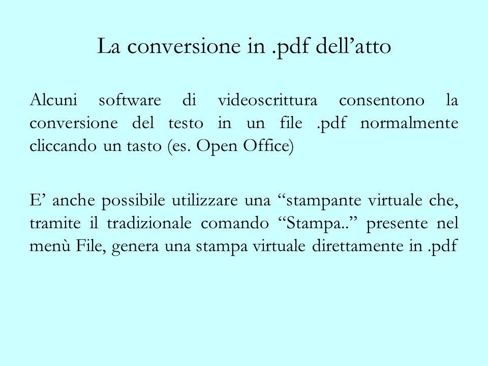 La conversione in.pdf dellatto Alcuni software di videoscrittura consentono la conversione del testo in un file.pdf normalmente cliccando un tasto (es