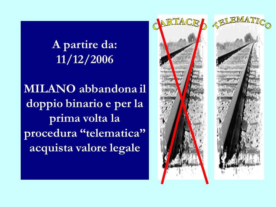 A partire da: 11/12/2006 MILANO abbandona il doppio binario e per la prima volta la procedura telematica acquista valore legale