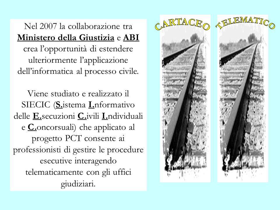 Nel 2007 la collaborazione tra Ministero della Giustizia e ABI crea lopportunità di estendere ulteriormente lapplicazione dellinformatica al processo
