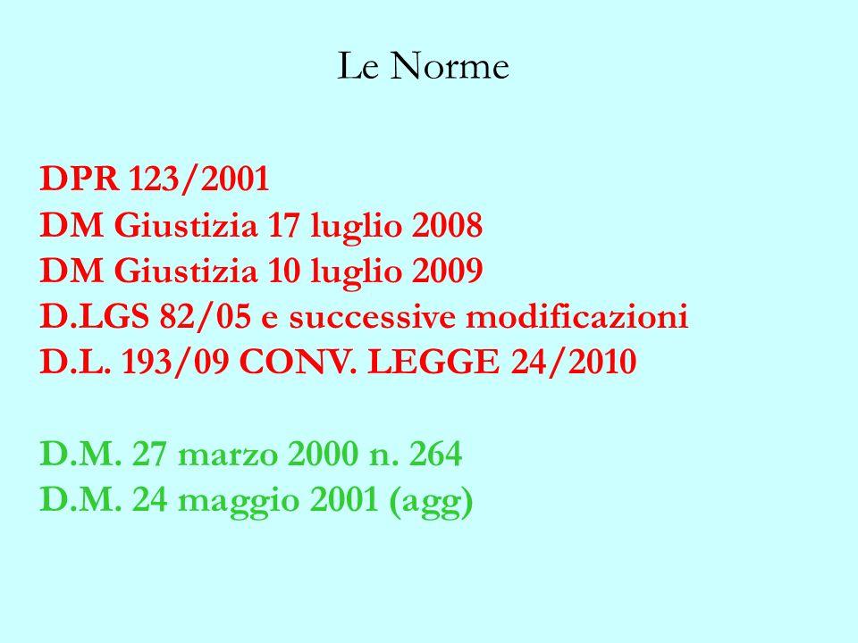Le Norme DPR 123/2001 DM Giustizia 17 luglio 2008 DM Giustizia 10 luglio 2009 D.LGS 82/05 e successive modificazioni D.L. 193/09 CONV. LEGGE 24/2010 D